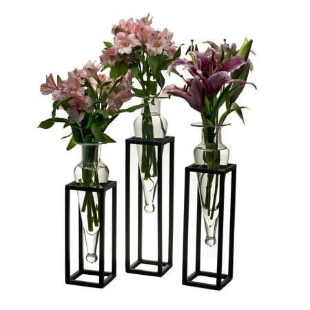Danya B. Set of 3 Clear Amphorae Vases on Square Tubing Metal Stands