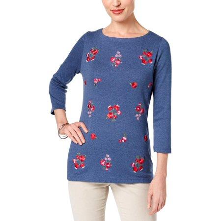 Karen Scott Womens Petites Embroidered 3/4 Sleeves