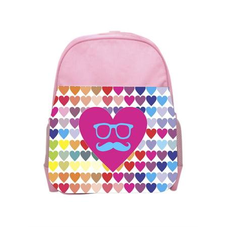 Hearts Mustache Girls Pink Preschool Toddler Children's Backpack & Lunch Box