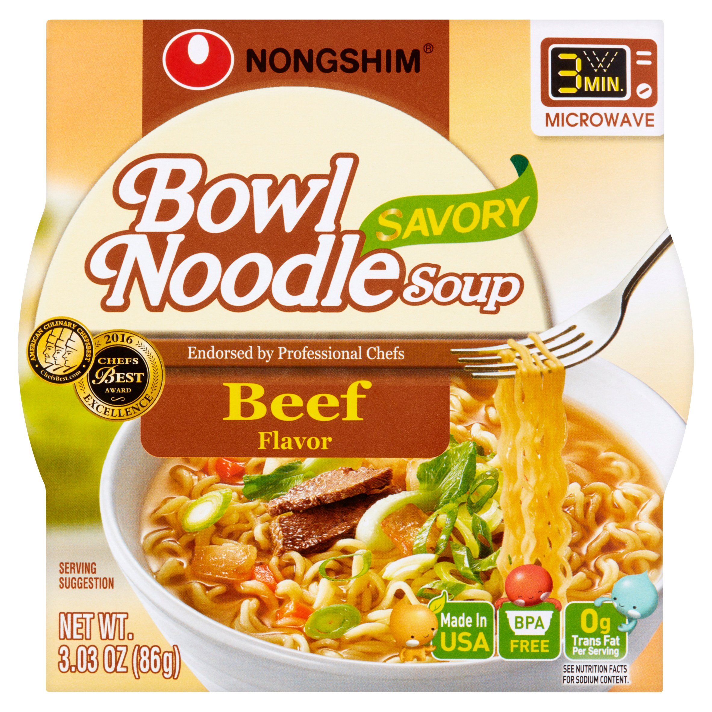 Nongshim Savory Beef Flavor Bowl Noodle Soup, 3.03 oz, (Pack of 12)