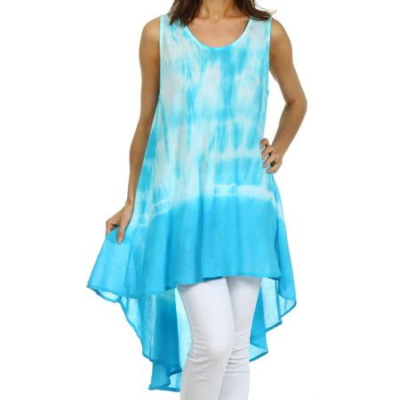 Sakkas Star Dancer Caftan Tank Hi Lo Dress / Cover Up - Turquoise - One - Stars Dress Up