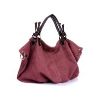 Deals on Vistashops Washed Canvas Slouch Satchel With Vegan Leather