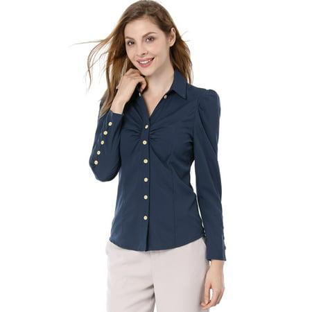 Pinpoint Point Collar Dress Shirt (Women Point Collar Button Closure Casual Shirt Navy Blue /XS (US 2) )