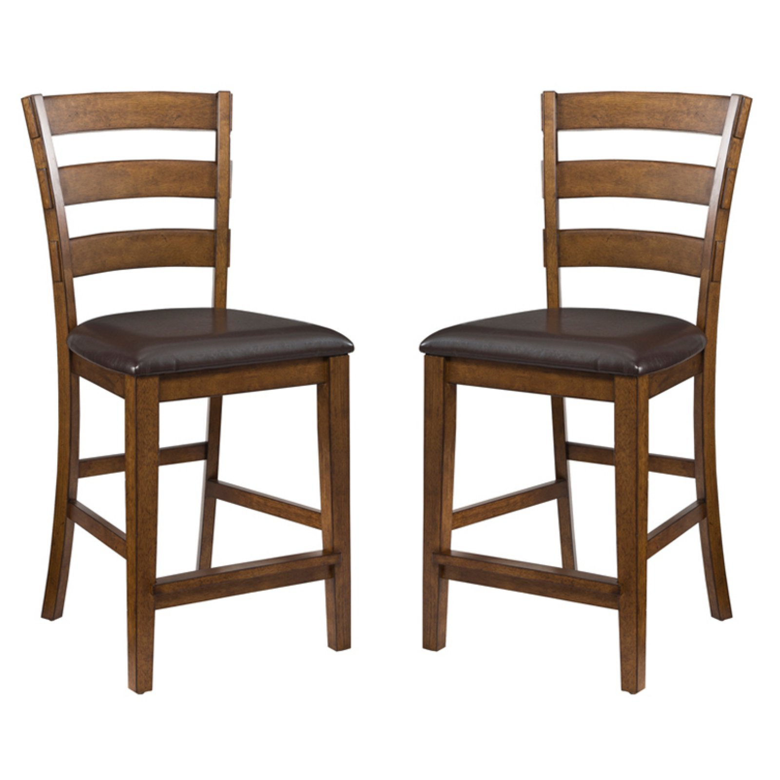 "Imagio Home by Intercon San Thomas 24"" Ladderback Barstool with Upholstered Seat, Set of 2, Warm Brandy"