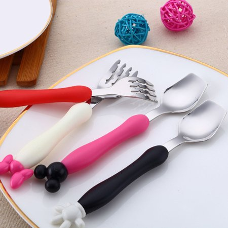 Baby Mickey Minnie Stainless Steel Spoon Fork Set BPA Free For Toddler Feeding MZ