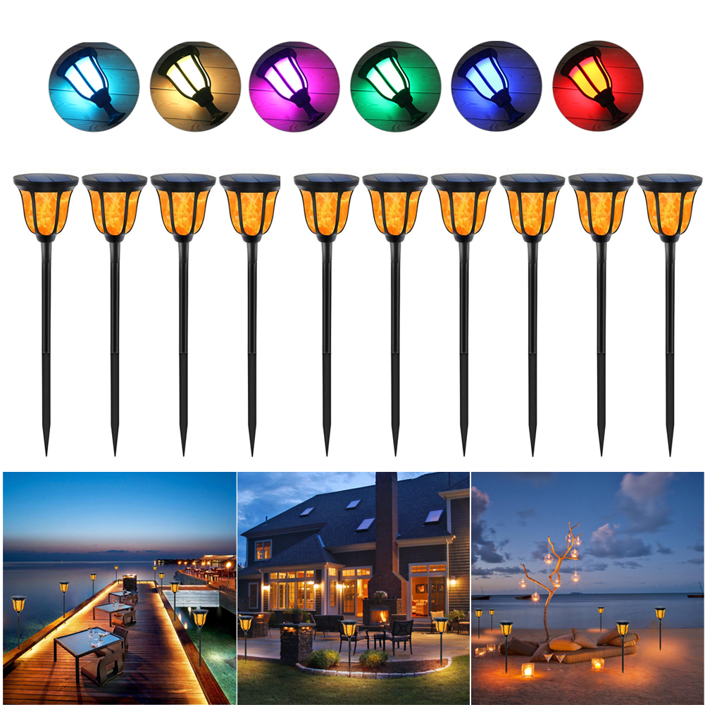 (2-10 PCAK) Solar Colorful Landscape lights Dusk To Dawn Garden Halloween decor Waterproof for outdoor events Party Camping Barbecue Wedding Christmas Festival & yard, pathways, garden, patio, fence