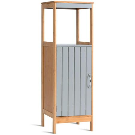 COSTWAY Bathroom Floor Cabinet Freestanding Single Door Bamboo 3-Tier Storage Unit (Bamboo Medicine Cabinet)