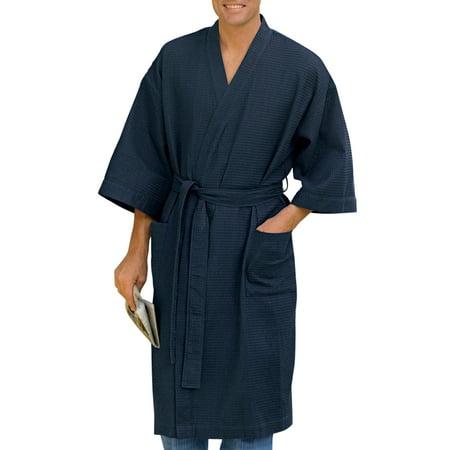 Big And Tall Plaid Robe - Men's Big & Tall Harbor Bay Waffle-Knit Kimono Robe