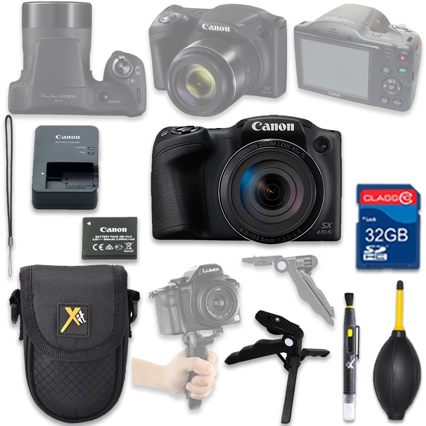 Canon PowerShot SX430 IS Digital Camera(black) with 32GB SD Memory Card + Accessory Bundle