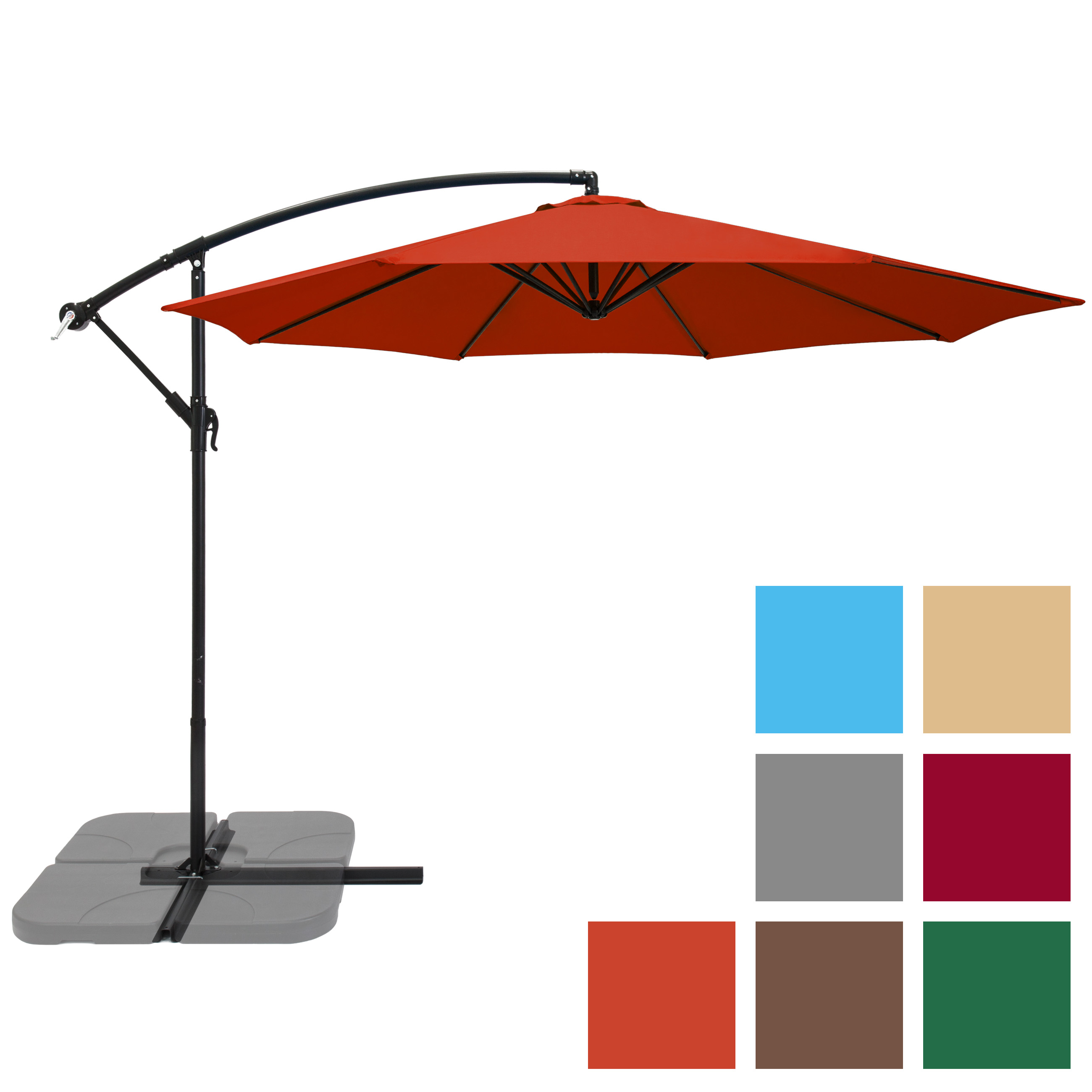 Patio Umbrella Offset 10' Hanging Outdoor Market Umbrella New Multiple Colors by