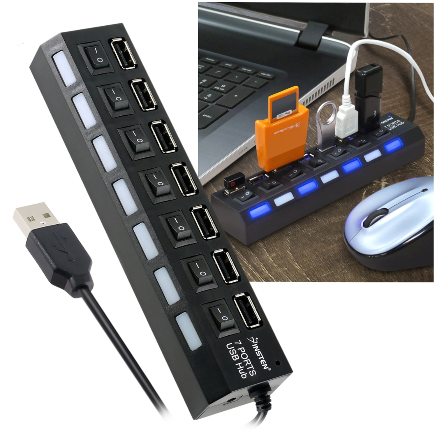 Insten 7-Port USB Hub with ON / OFF Switch Adapter LED Light