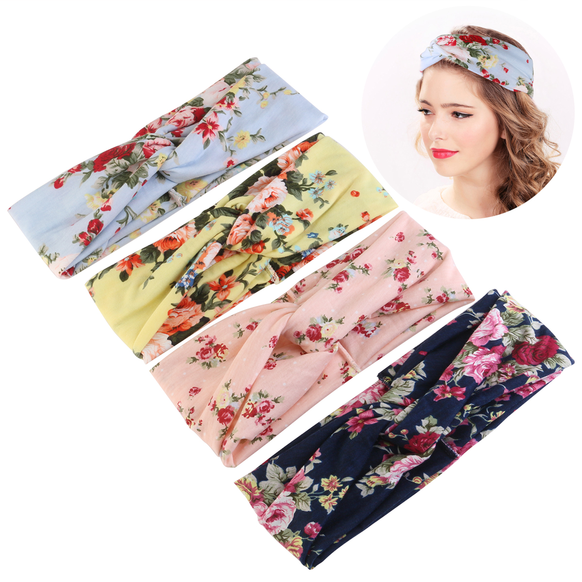 PIXNOR 4pcs Women Elastic Turban Head Wrap Headband Rose Flower Twisted Hair Band Headband