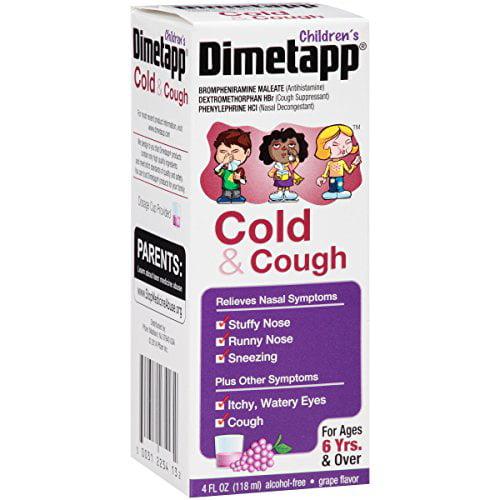 4 Pack Dimetapp Children's Cold & Cough Grape Flavor 4 Oz Each