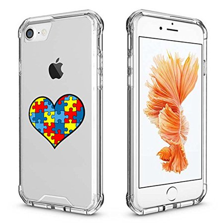 For Apple iPhone Clear Shockproof Bumper Case Hard Cover Heart Puzzle Autism Color (Clear For iPhone 8 Plus)](Color For Autism)
