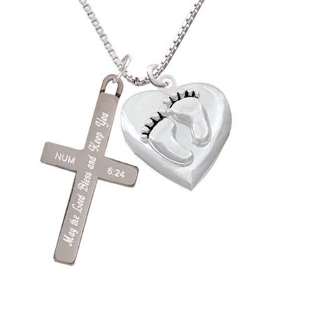 Silvertone Baby Feet Heart Locket - Bless and Keep You - Cross Necklace