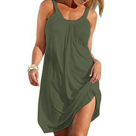 Women Summer T Shirt Dresses Sleeveless Plain Tank Dress Casual Loose Beach Mini Dress Ladies Sexy Beach Bikini Swimsuit Cover Up Dark Blue