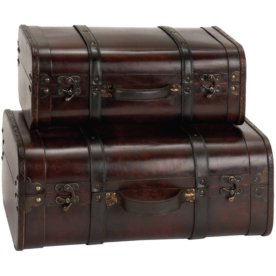 Decmode Wood and Leather Box, Set of 2, Multi Color