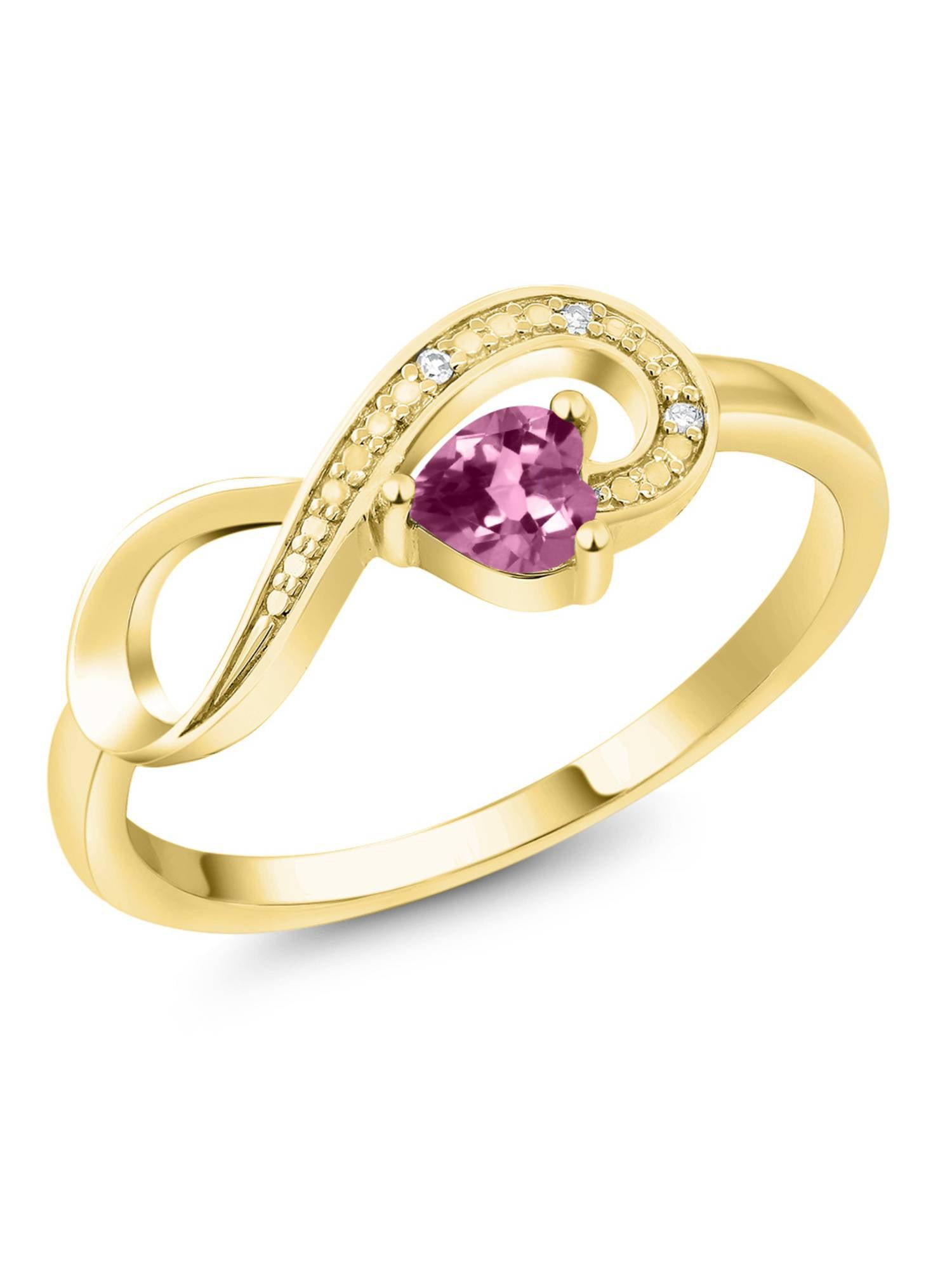 10K Yellow Gold 0.21 Ct Heart Shape Pink Tourmaline Diamond Infinity Ring by