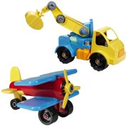 Battat Take-A-Part Crane & Airplane Exclusive Combo Pack