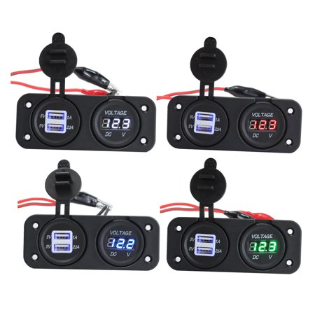 Socket Display (Waterproof DC12-24V Dual USB Port LED Car Charger Socket carphonecharger with LED Digital Display)
