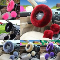 Hot 3Pcs/Set Woolen Winter Soft Warm Fuzzy Steering Wheel Cover Long Plush Handbrake Car Accessory Pink/Saffron Yellow/Black/Wine Red/Beige