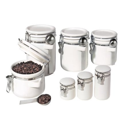Oggi 7 Piece Ceramic Airtight Canister Set White