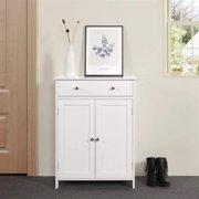 UBesGoo Bathroom Floor Cabinet Storage Organizer Unit with Drawer and Adjustable Shelf for Living Room White