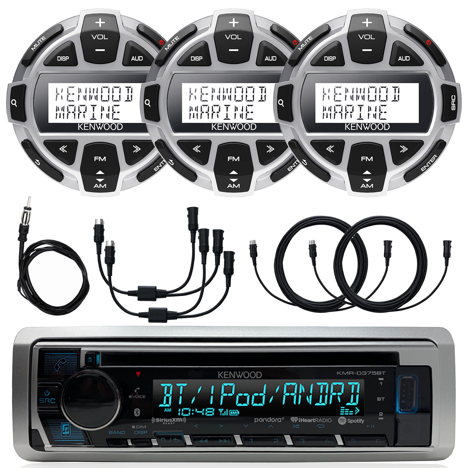 """Kenwood Marine Motorsports Boat Yacht In-Dash Single DIN CD Bluetooth UBS AUX Receiver, 3x Kenwood Digital LCD Display Wired Remote, 40"""" AM/FM Antenna, 2x Y-Cable Adapter, 3x 7-Meter - 22 Ft Extension"""