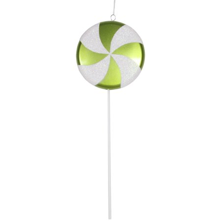 Large Green and White Lime Twist Candy Lollipop Christmas Ornament Decorations 24