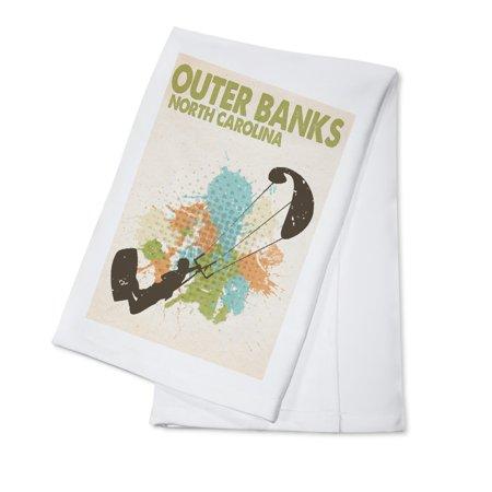 Outer Banks, North Carolina - Splatter Paint Kite Surfer - Lantern Press Poster (100% Cotton Kitchen Towel)