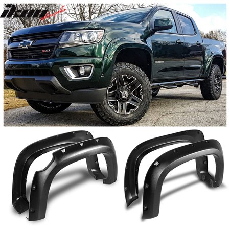 Fits 15-18 CHEVY COLORADO Pocket Style Fender Flares Textured Black ABS