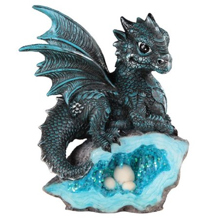 Cloisonne Dragon (Blue Dragon with Crystal Egg Nest Medieval Fantasy Figurine Decoration New )