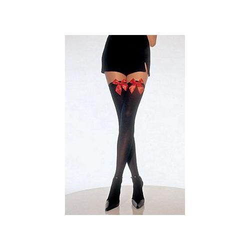 Leg Avenue Opaque Thigh High with Bow Plus Size 6255QLEG_BL Black