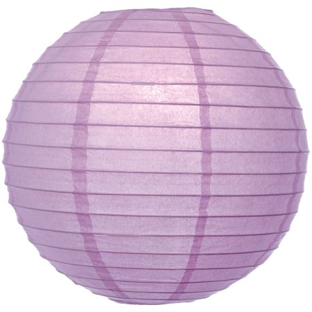 Premium Paper Lantern, Lamp Shade (8-Inch, Parallel Style Ribbed, Lilac Purple) - Rice Paper Chinese/Japanese Hanging Decoration - For Home Decor, Parties, and Weddings - Lilac Decorations
