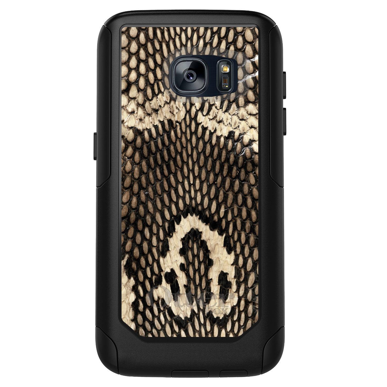 DistinctInk™ Custom Black OtterBox Commuter Series Case for Samsung Galaxy S7 - Brown Tan Snake Skin Texture