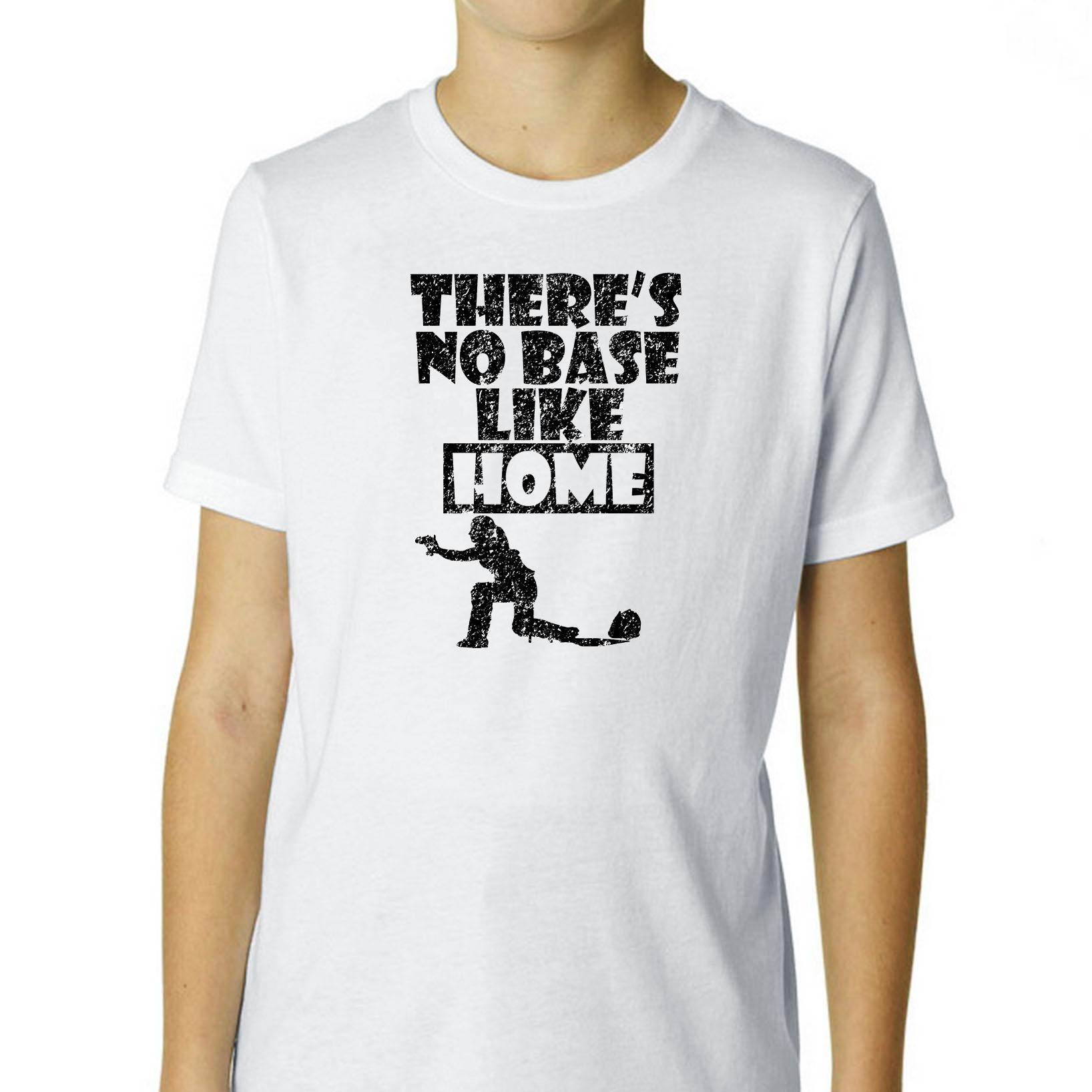 Softball Catcher Guarding Plate There's No Base Like Home Boy's Cotton Youth T-Shirt by Hollywood Thread