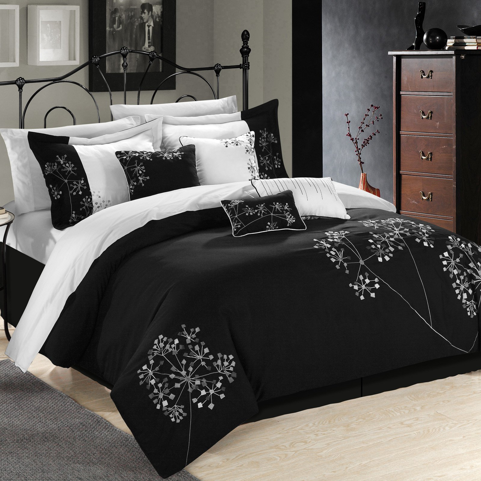 Chic Home Black and White Embroidered Floral Bed in a Bag Comforter Set