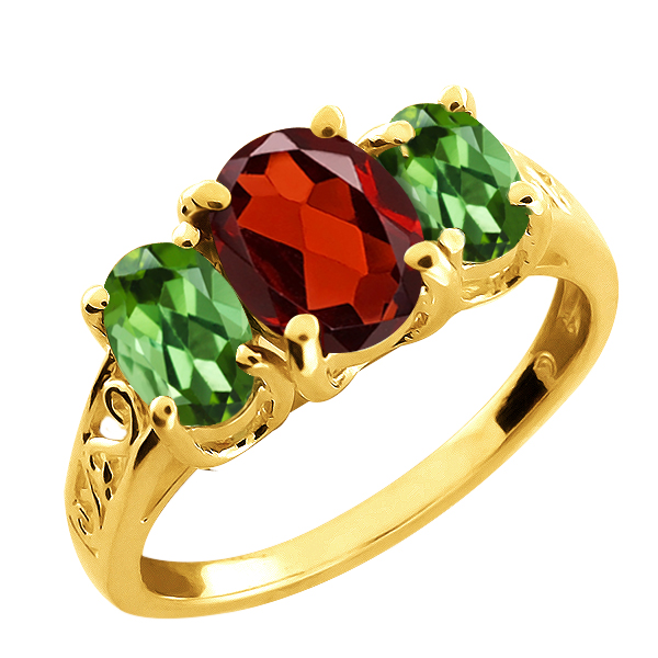 2.20 Ct Oval Red Rhodolite Garnet and Green Tourmaline 18k Yellow Gold Ring by