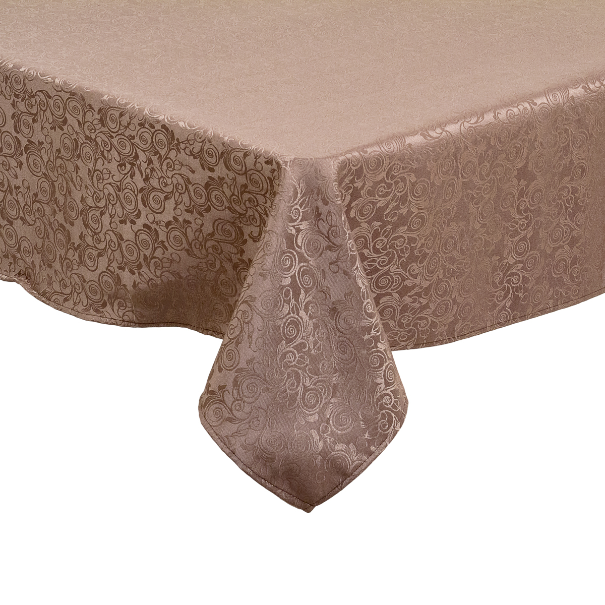 52 x 70 in. Rectangular Shimmering Filigree Tablecloth Chocolate