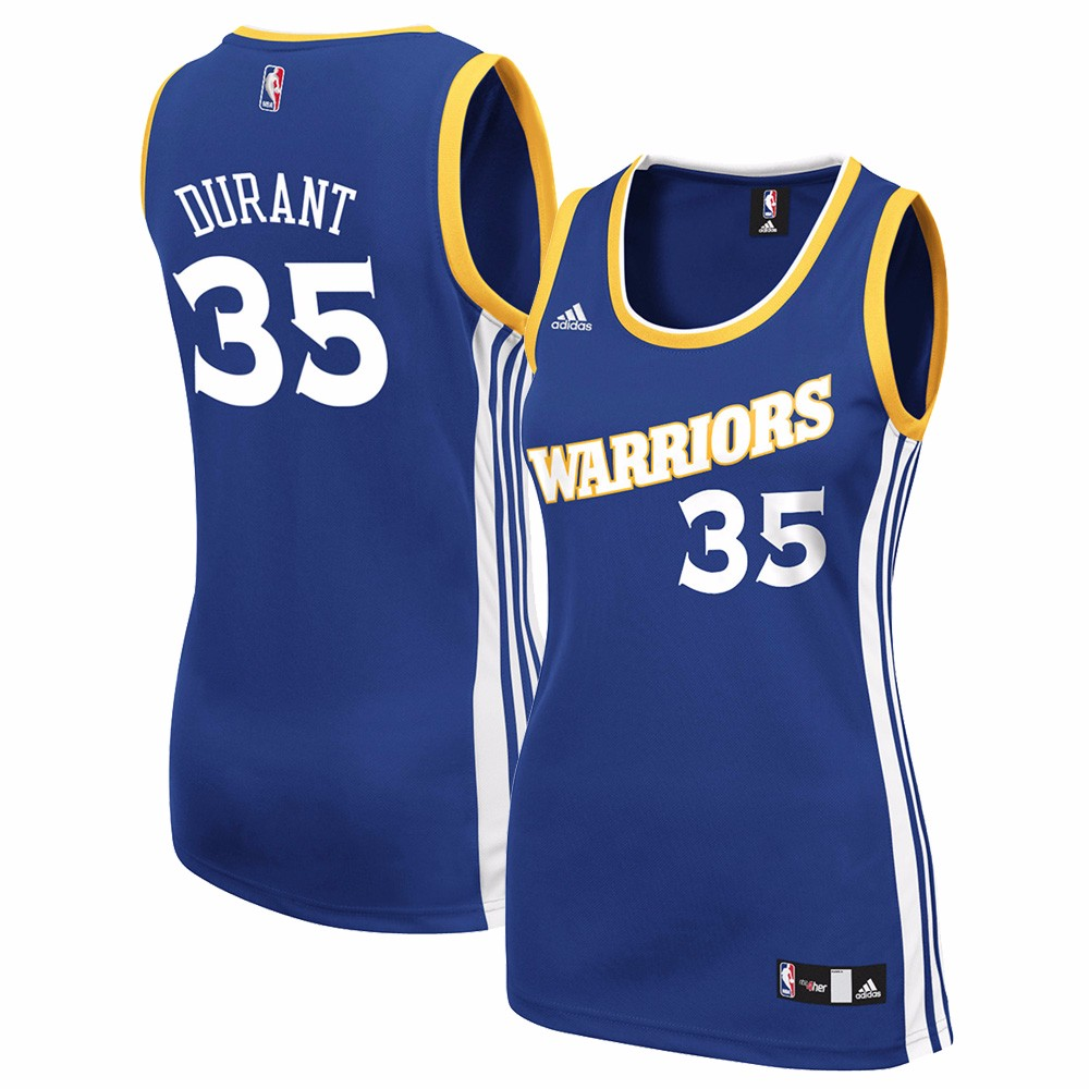 Kevin Durant Golden State Warriors NBA Adidas Women's Blue Official Road Replica Jersey
