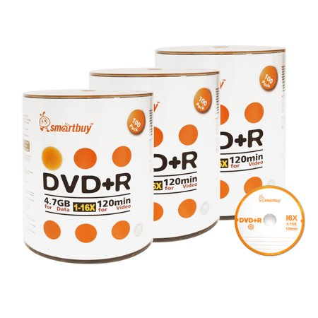 300 Blank (300 Pack Smartbuy 16X DVD+R DVDR 4.7GB Logo Top (Non-Printable) Data Video Blank Recordable Disc)
