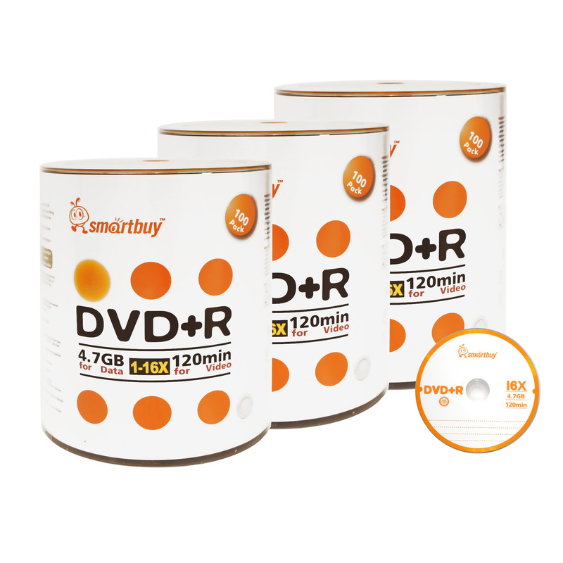 300 Pack Smartbuy 16X DVD+R DVDR 4.7GB Logo Top (Non-Printable) Data Video Blank Recordable Disc