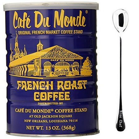 Cafe Du Monde French Roast Coffee 13Oz (6 Pack) + One NineChef Spoon Cafe Du Monde French Coffee