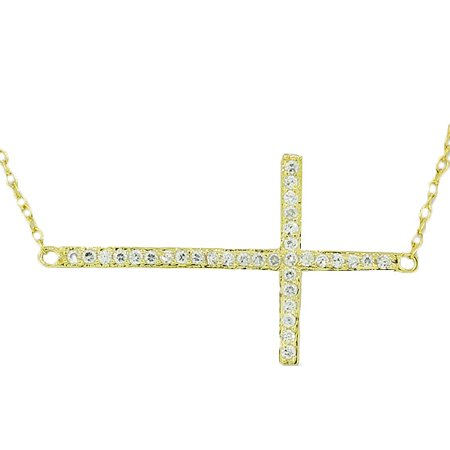 925 Sterling Silver Yellow Gold-Tone Sideways Cross CZ Pendant Necklace Gold Gp Pendant Necklace