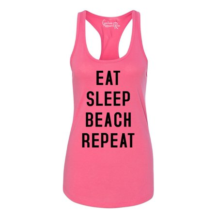Eat Sleep Beach Repeat Summer Vacation Womens Graphic Tees Racerback -