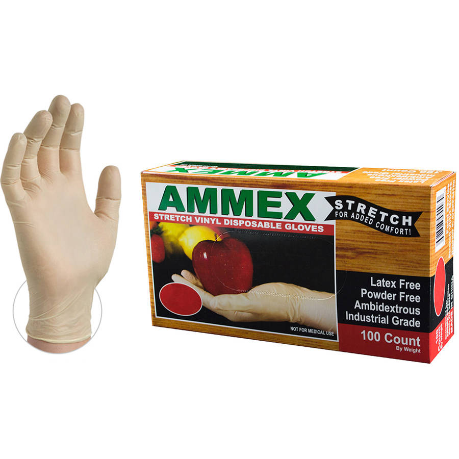 AMMEX Stretch Synthetic Ivory Vinyl Industrial Disposable Gloves, Small