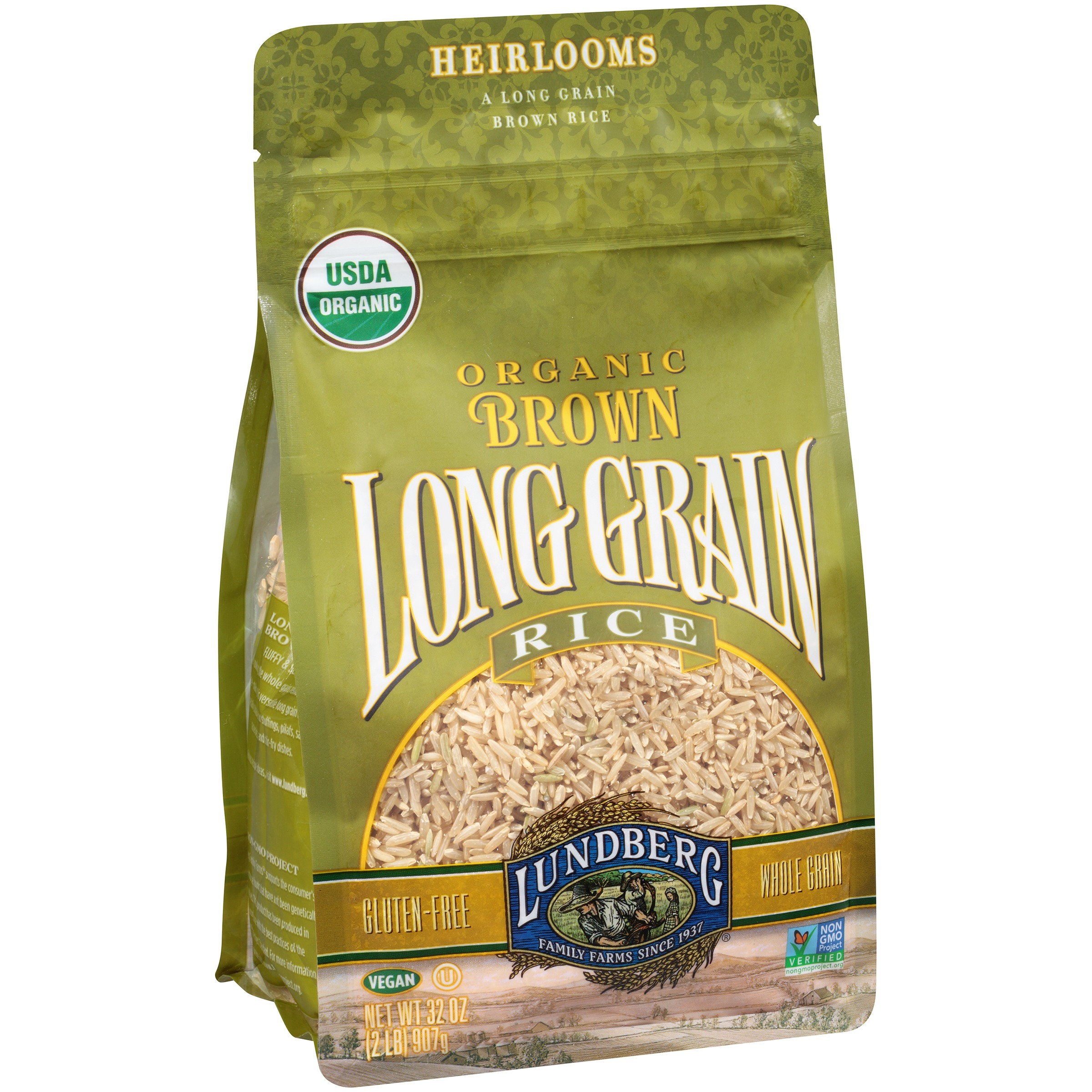 Lundberg�anic Brown Long Grain Rice 32 Oz Stand Up Bag