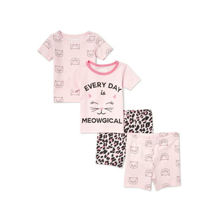 Baby And Toddler Girls 'Every Day is Meowgical' Happy Kitty and Leopard Print 4-Piece Sung-Fit Short Set (Baby and Toddler