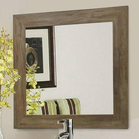 Rayne Rustic Light Walnut Square Wall Mirror ()