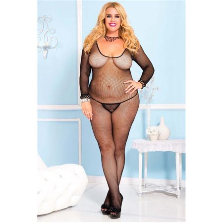 Plus Size Seamless Long Sleeve Fishnet Crotch Less Body Stocking - Black